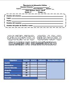 Exámenes Quinto grado Diagnostico Ciclo Escolar 2018-2019