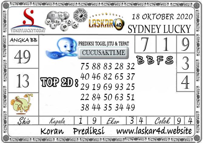 Prediksi Sydney Lucky Today LASKAR4D 18 OKTOBER 2020
