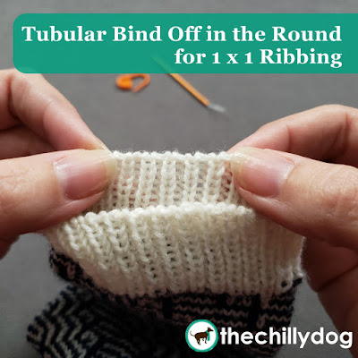Knitting Tutorial: The tubular bind off creates a flexible edge  that looks like your stitches continuously flow over the divide between the RS and WS
