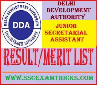 Delhi Development Authority DDA JSA Result