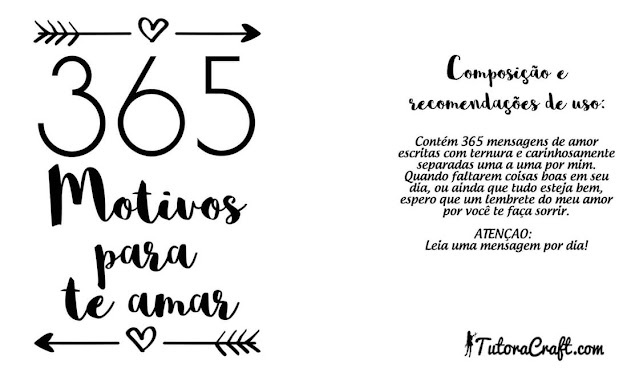 365 motivos para te amar rótulo