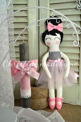 Σετ πασχαλινή λαμπάδα και χειροποίητη κούκλα μπαλαρίνα