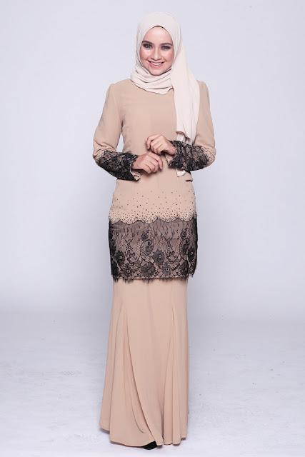 Model Baju Kurung Moden Warna Brown Dengan Jilbab
