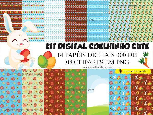 KIT DIGITAL COELHINHO CUTE GRÁTIS