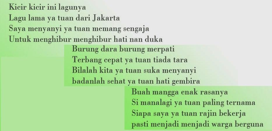 Naskah Lagu Kicir Kicir (Lagu Daerah DKI Jakarta)