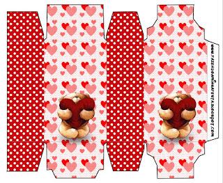 Teddy Bear in Love Free Printable Box.