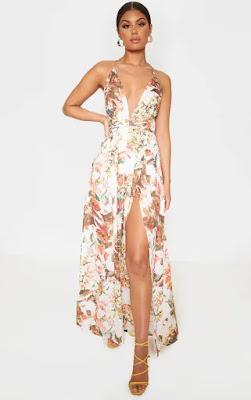 White Floral print chiffon halterneck maxi prom dress