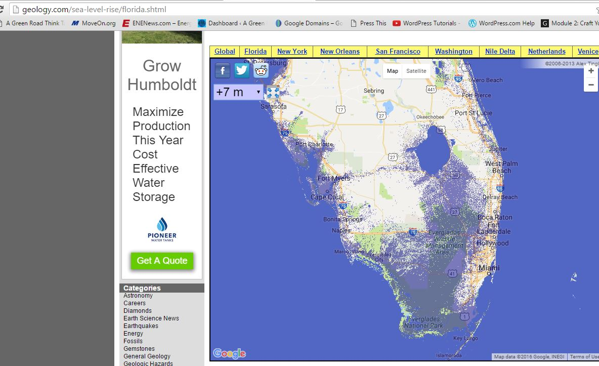 Coastal Cities Are Now Flooding At High Tide Low Lying Islands - Sea level rise map florida