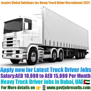 Inspire Global Solutions Heavy Truck Driver Recruitment 2021-22