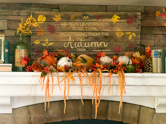 DIY pallet sign in rustic colorful fall mantel display - goldenboysandme.com