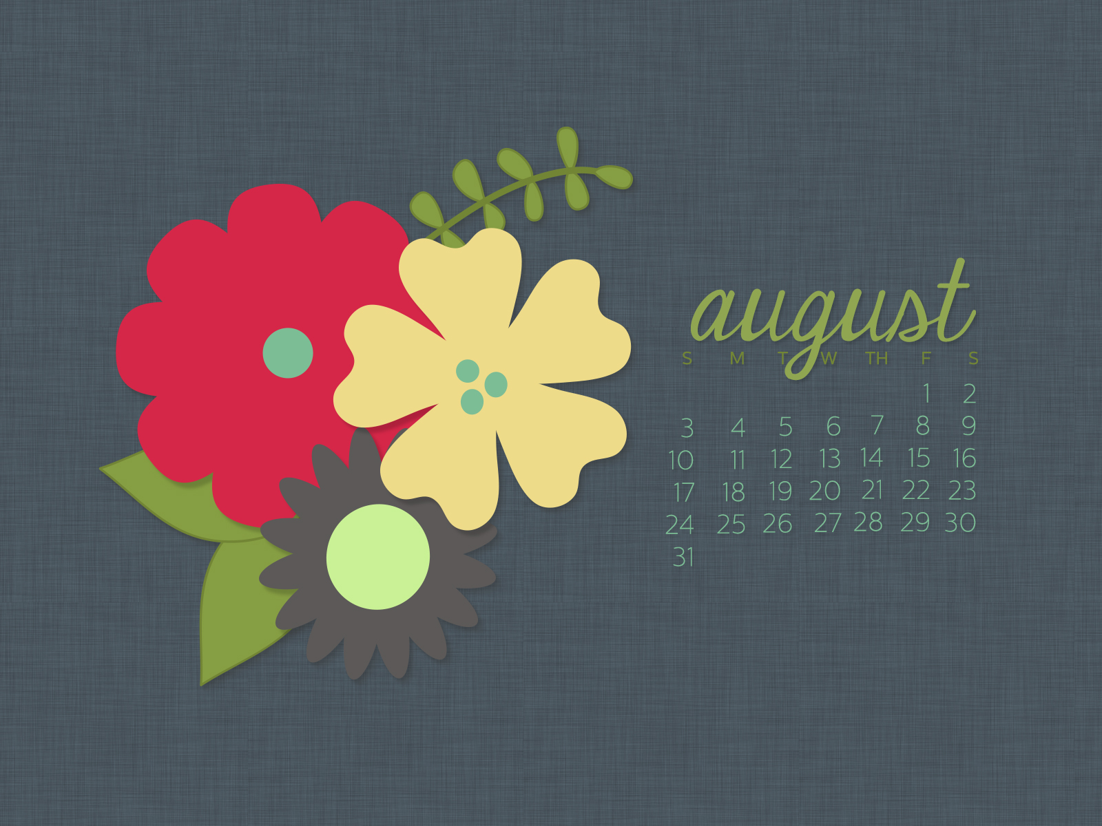August 2014 Desktop Calendar Wallpaper | Paper Leaf
