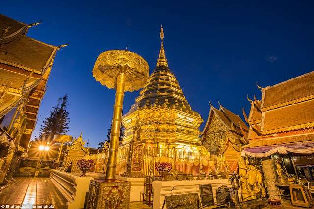 The Buddhist temple Wat Prathat Doi Suthep in Chiang Mai province is considered one of the holiest temples in the north of Thailand.