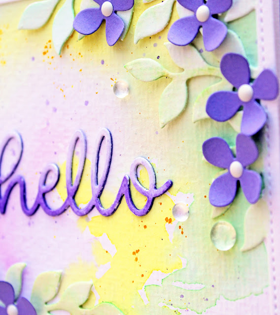 Sunny Studio Stamps: Botanical Backdrop Hello Word Die Hello Card by Vanessa Menhorn