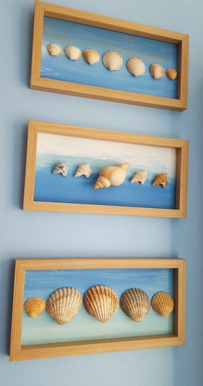 Shells Framed with Abstract Painted Ocean Background