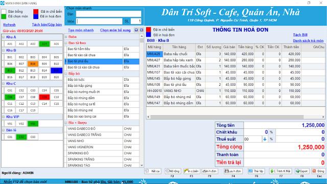 Phần mềm miễn phí cho thu ngân quán cafe