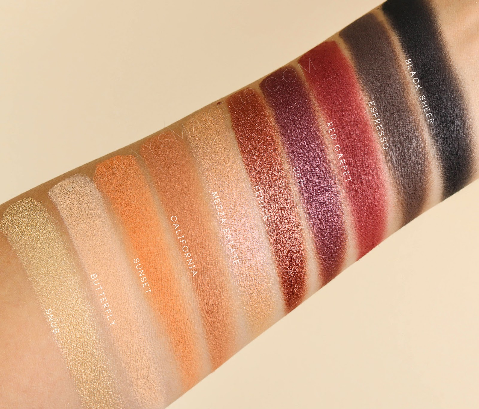 Neve Cosmetics Amber Wonderland palette swatch
