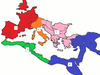Map of Roman Empire Divided into Regions Region 1: Peninsular Italy; Region 2: Western Europe; Region 3: Western Coast of Africa; Region 4: Egypt and Eastern Mediterranean; Region 5: Greece and the Balkans