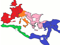 Map of Roman Empire Divided into Regions