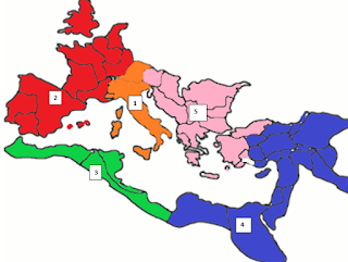 Region 1: Peninsular Italy; Region 2: Western Europe; Region 3: Western Coast of Africa; Region 4: Egypt and Eastern Mediterranean; Region 5: Greece and the Balkans