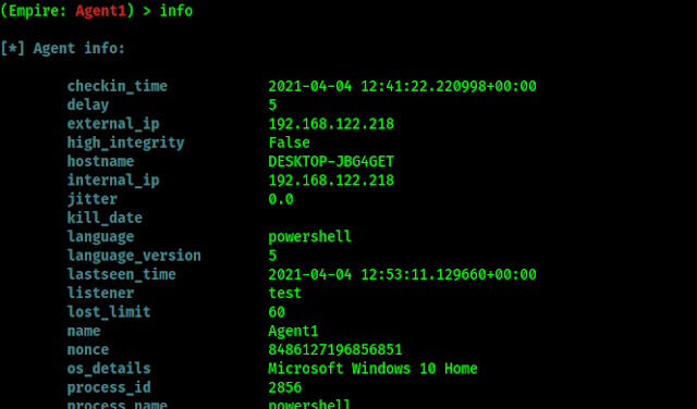information of powershell empire agent on Kali Linux