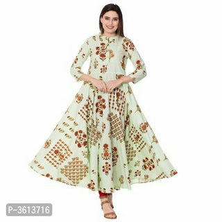 New Inn !! Rayon Printed Anarkali Kurtas