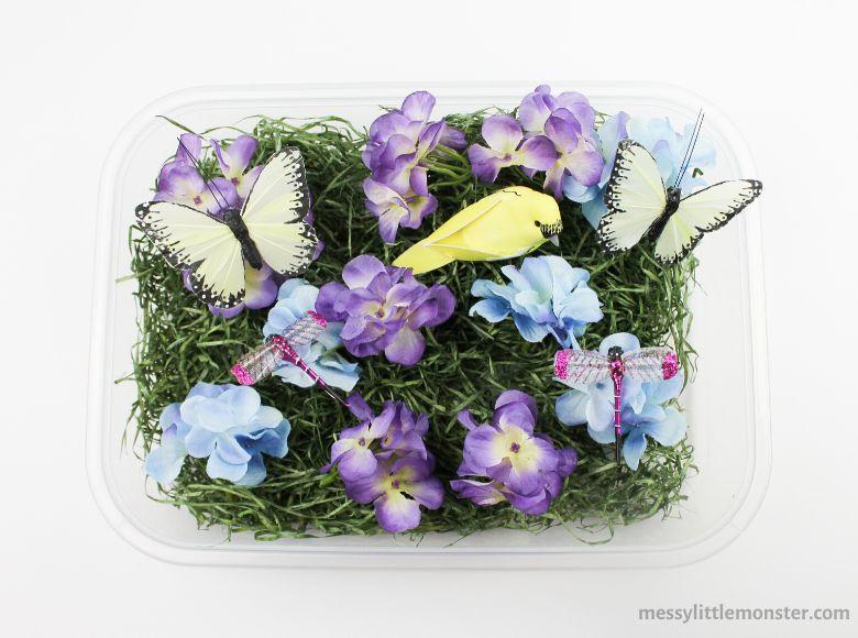 Spring flower sensory bin activity for kids