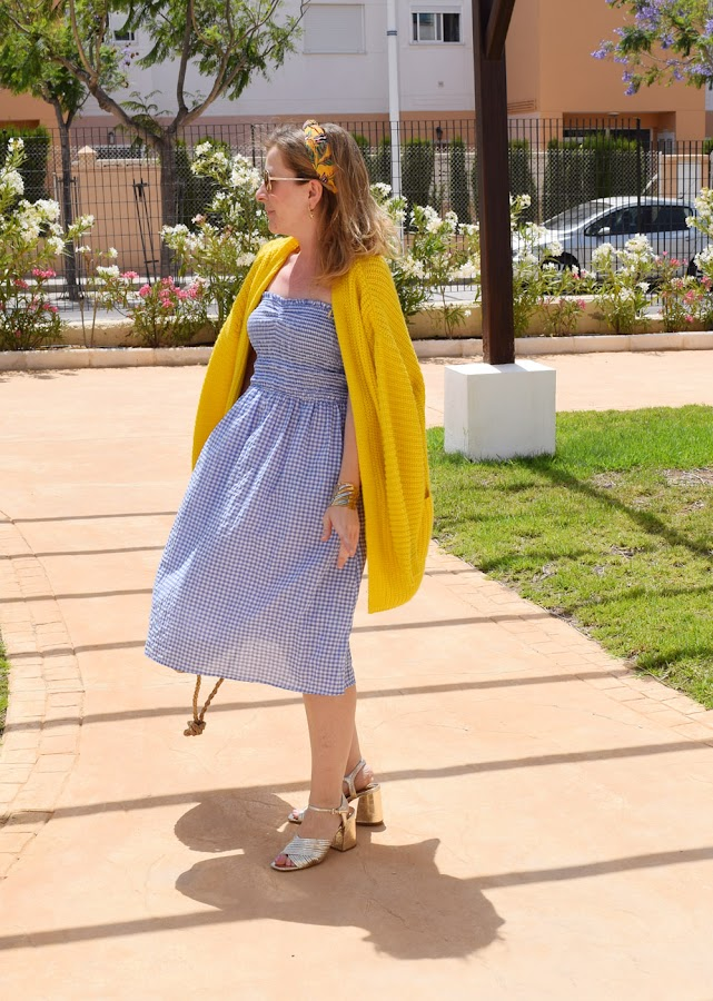 Blue vichy dress and yellow