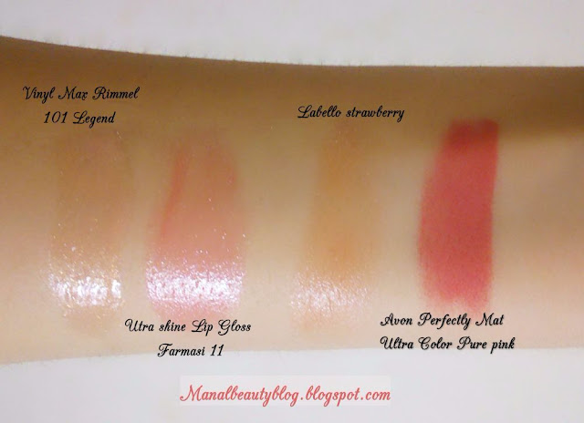 Swatch gloss Vinyl Max Rimmel, Utra shine Lip Gloss Farmasi, Labello strawberry, Avon Perfectly Mat Ultra Color