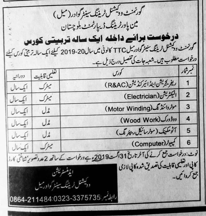 Admission In Governament Vocational training center Gwadar