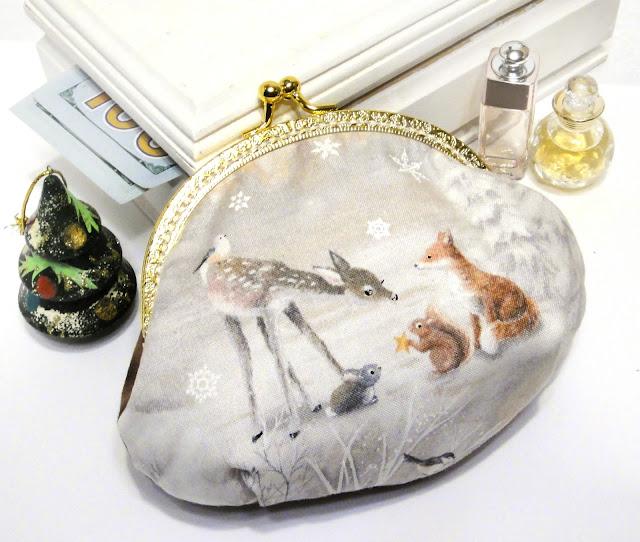Женский кошелек из ткани Рождество в лесу Подарок девушке, кошелек с фермуаром защелкой, одно отделение