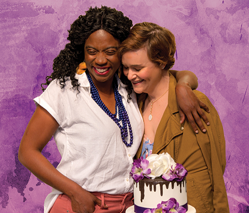 "Macy (Parris Sarter) and Jen (Rhyn McLemore Saver) in ""The Cake"" at Horizon Theatre Company"