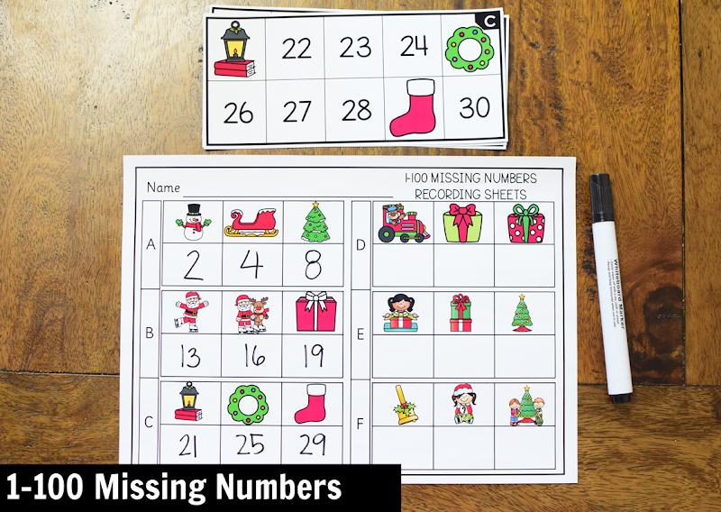 Kindergarten Math Center for December: 1-100 Missing Numbers