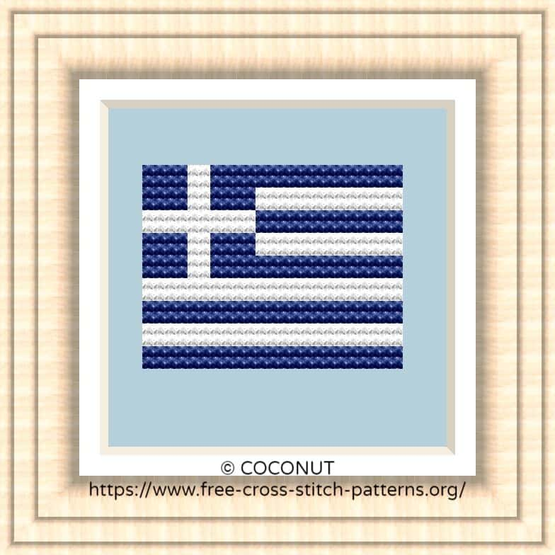 NATIONAL FLAG OF GREECE CROSS STITCH CHART