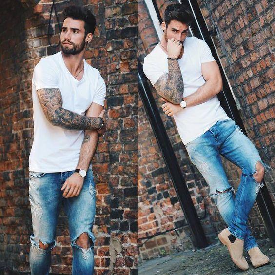 Resultado de imagem para jeans destroyed masculino