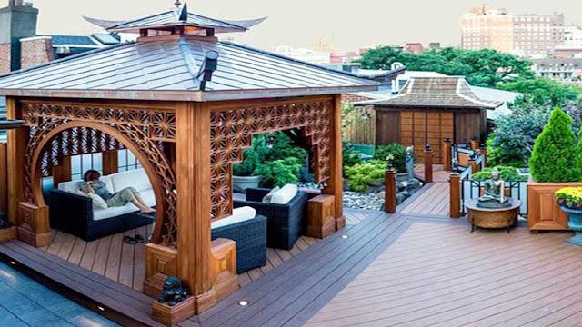 membuat gazebo minimalis di area rooftop