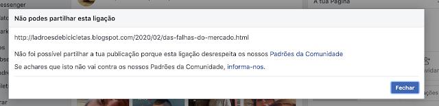 Facebook não gosta que se fale de falhas do mercado