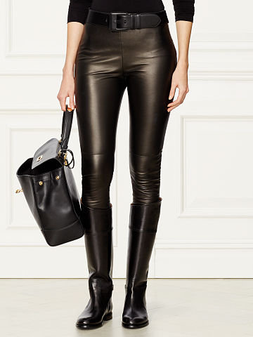 Ralph Lauren Eleanora Stretch Leather Pant