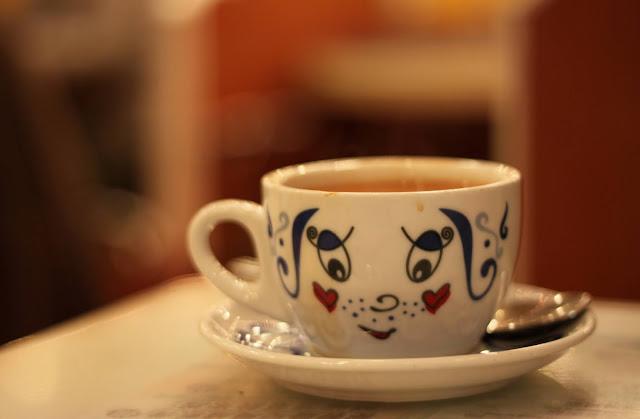 a cup of hot Hong Kong milk tea from Tsui Wah Restaurant