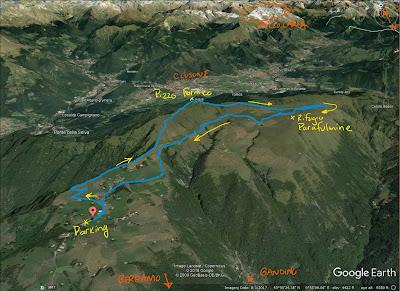 GPS tracks of the hike to Rifugio Parafulmine.