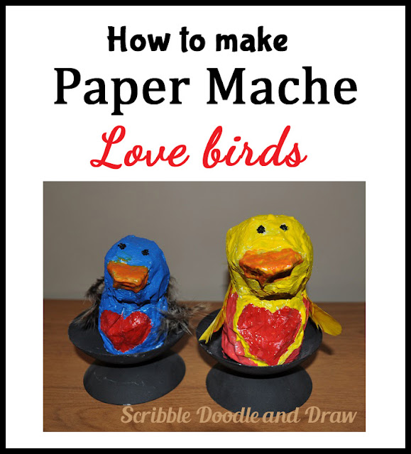 kids crafts-how to make paper mache love birds for valentine day