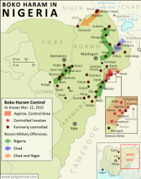 Map of Boko Haram control in Nigeria in March 2015, and the multinational offensive with Cameroon, Chad, and Niger that drove the rebels back.