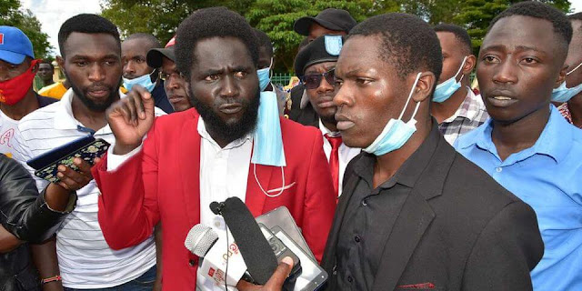 Student leaders protest against the proposed fee increment outside Meru University