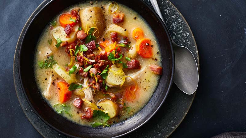Hearty Chicken Stew with Pancetta Gremolata