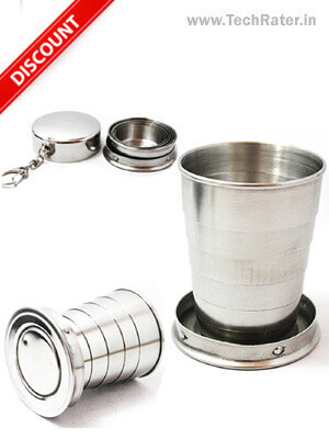 Portable Folding Stainless Steel Water Glass