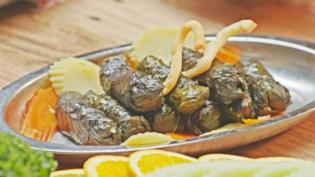 Vegetarian vine leaves in a serving dish
