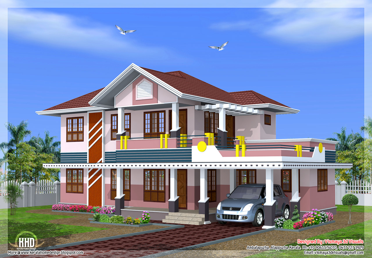 2239 4 bedroom sloped roof house design kerala for Sloped roof house plans in india