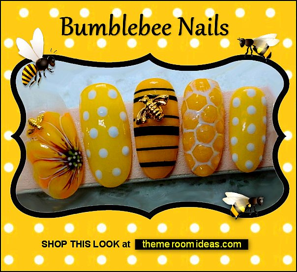 Bumblebee False Nails nail decorations nail design ideas bees bumble bee