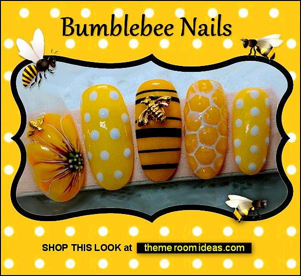 Bumblebee False Nails nail decorations nail design ideas bees bumble bee