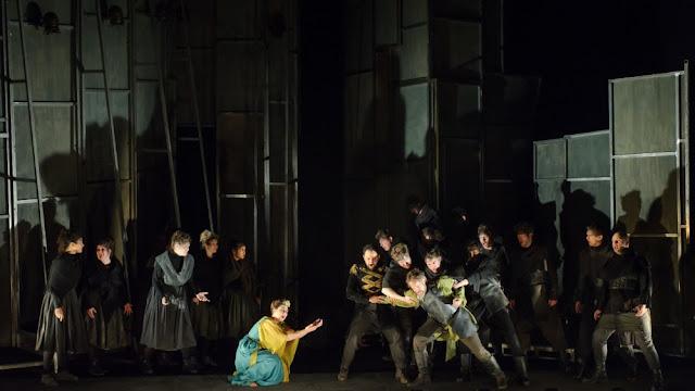 Elena Xanthoudakis, Luciano Botelho, Grant Doyle, ensemble - Act One finale, Donizetti Pia de'Tolomei - English Touring Opera - photo Janet Hobson