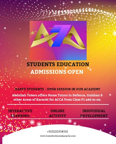 Abdullah Tutors Academy offering Home Tuition for ACCA in Gulshan Town, Sindh Baloch Cooperative Housing Society, Karachi